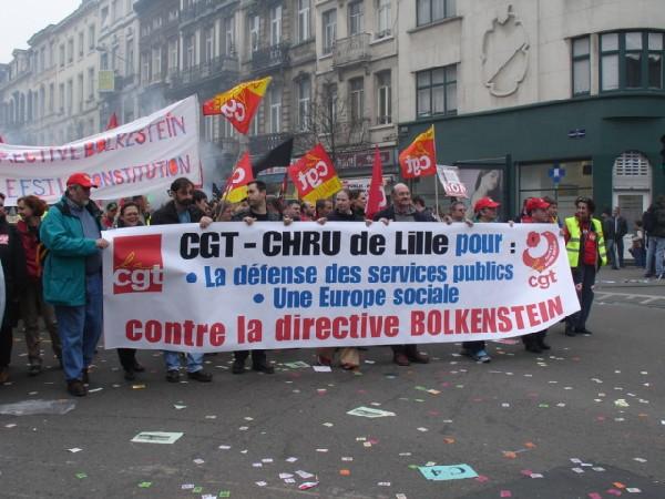 CGT tegen Bolkestein...